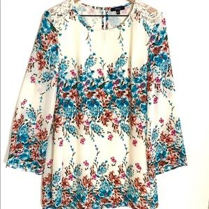 Very J Floral long sleeve midi dress, Size M